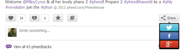 Sharing options from Pheed timeline